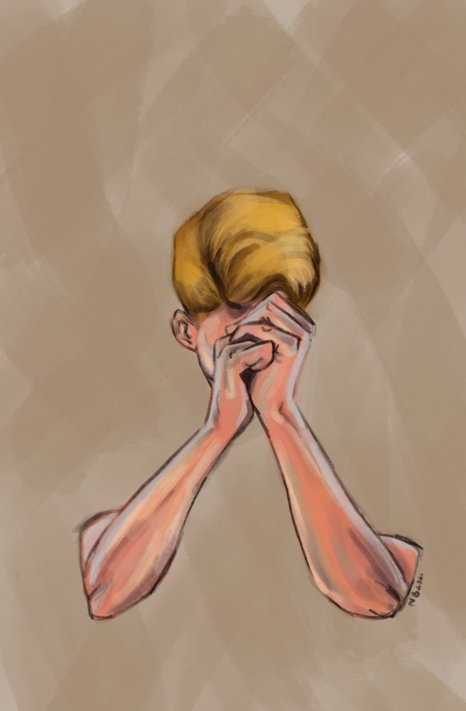 Digital painting, man's forearms and head on a beige background, it looks like he's melting into it or emerging from it