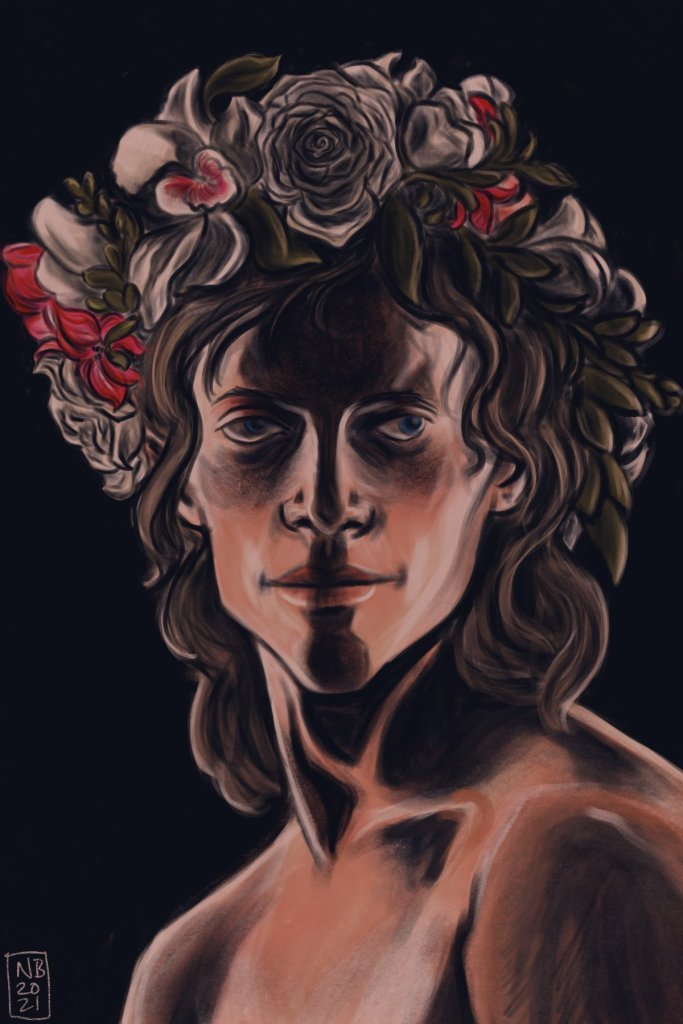 digital painting of a shirtless man with long blond hair. he's wearing a flower crown, and the lighting is dramatic