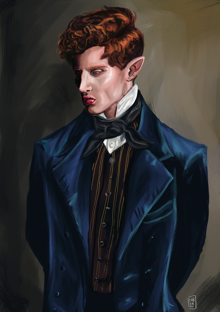 Oil painting of a red haired half elf in a blue velvet coat, looking to the lower left hand corner with a sad expression.